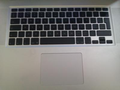 A closeup of the keyboard and the touchpad